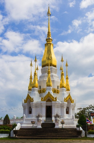 White and gold stupa